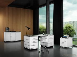 Bureau métal Classic Line design blanc