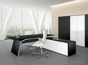 Bureau haut de gamme bois chêne laqué noir Metar avec desserte porteuse en laqué blanc