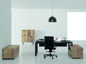 Bureau de direction Prestige sur rangement finition Timber
