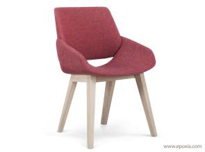 Chaise Monk rouge avec piétements bois