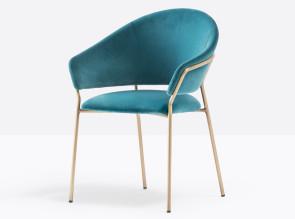 Chaise Jazz, assise en velours et structure en laiton vieilli.