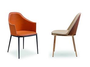 Chaise et fauteuil Lea design légèrement rétro