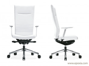 Fauteuil direction King cuir blanc