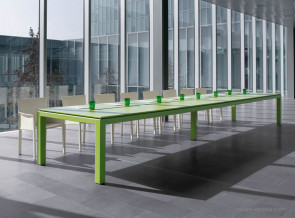 Table de réunion collection Abaco meeting cuir vert