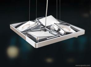 Suspension design Studio Quattro chromée
