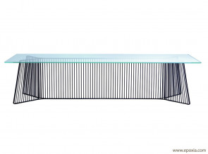 Table de réunion Anapo plateau en verre