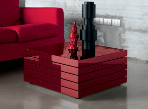 Table basse collection Rotor laqué rouge brillant