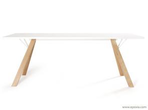 Table Lab pieds bois plateau stratifié blanc