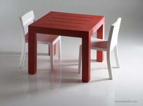 Table carrée Jut Mesa rouge
