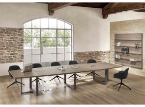 Table de réunion Archimede forme tonneau, Noyer canaletto