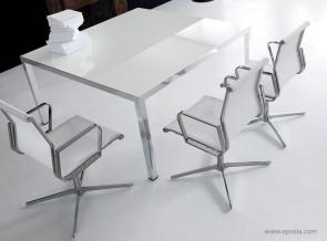 Table de réunion Fly verre extralight blanc