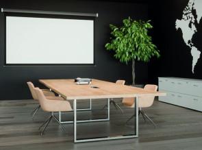 Table de réunion Prestige, plateau chêne Nébraska et pied chrome