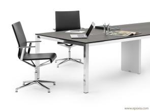 Table de réunion design P50, plateau HPL et structure alu poli