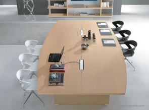 Table de réunion tonneau collection Odeon chêne