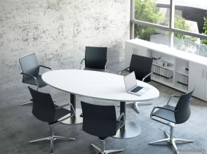 Table de réunion ovale Alfa pieds inox