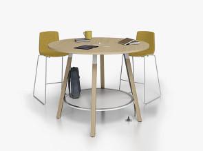 Table de réunion haute, plateau bois
