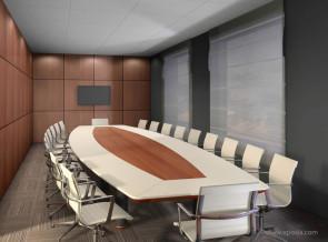 Table de réunion ovale EMG cuir avec insert central bois