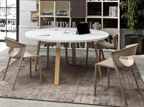 Table de réunion ronde Atreo Wood
