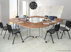 Tables pliantes rectangulaires avec angles finition merisier naturel