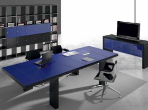 Table de réunion collection Titano cuir bleu